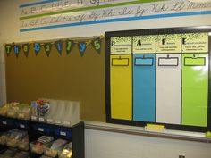 -Daily 5 anchor charts will be placed under the banner. -CAFE menu cards are held up by magnetic clips, so that they can be removed for instruction. Classroom Tools, Classroom Organization, Classroom Ideas, Cafe Bulletin Boards, First Grade Reading, Reading School, Guided Reading, Charlottes Web Activities, Education And Literacy
