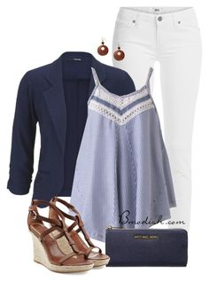 """""""Navy & Stripe"""" by wulanizer ❤ liked on Polyvore featuring Paige Denim, maurices, MICHAEL Michael Kors and Burberry"""
