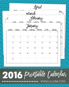 FREE 2016 Printable Calendar - use these cute prints to help you stay organized this year!
