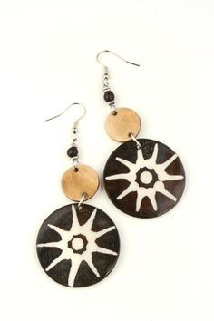 Sunburst Horn Earrings | Fair Trade Beaded African Jewelry