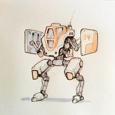 Robo 014 #marchofrobots #robot #sketch #sketchbook #mech some kind of shield…