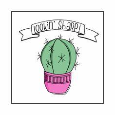 """Eenvoudig getekende kaart met cactus en """"scherpe"""" tekst. Kaart met knipoog naar een vriend(in), verkrijgbaar bij #kaartje2go voor € 1,99"""