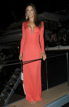 Alessandra Ambrosio in Roberto Cavalli coral dress at the Roberto Cavalli's Yacht Party.