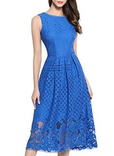 VEIIASR Womens Fashion Sleeveless Lace Fit Flare Elegant Cocktail Party Dress - http://www.darrenblogs.com/2017/04/veiiasr-womens-fashion-sleeveless-lace-fit-flare-elegant-cocktail-party-dress/