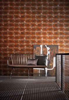 Encompassing elements of utilitarianism deconstructed metals rust and oxidised patinas Anthology 03 fuses luxurious alluring design with a raw urban feel featured here is 'Oxidise'. Copper Wallpaper, Industrial Wallpaper, Room Interior, Interior Design, Turbulence Deco, Wall Borders, Wallpaper Direct, Tin Boxes, Metal Furniture