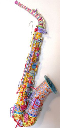 Colorful Hand Painted Saxophone.
