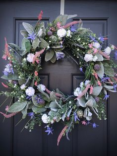 Spring Wreath Spring Door Wreath Pink Purple White Wreaths Pastel Wreaths Lambs Ear Wildflower Wreath New Home Gift Housewarming Birthday Spring Door Wreaths, Christmas Wreaths, Turquoise Wreath, Red Geraniums, White Wreath, Lambs Ear, New Home Gifts, Grapevine Wreath, Pink Purple