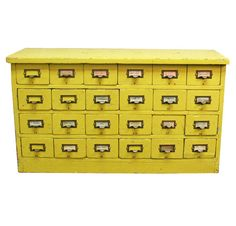 Vintage Yellow Library Card Catalog -- Mid-Century Library Furniture by Aurora Mills