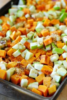 This roasted butternut squash recipe includes green apples and candied walnuts. Serve this vegetable side dish with your holiday dinner for a taste of fall. Side Recipes, Vegetable Recipes, Vegetarian Recipes, Cooking Recipes, Healthy Recipes, Top Recipes, Healthy Kids, Apple Side Dish Recipes, Recipies