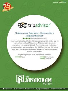 """A Home away from home""- Reviewed by Mr.Sudhakar, Coimbatore. Dear customer our pleasure that we got a chance to host you. We are really thankful to you for giving us an opportunity to serve you. We believe you really enjoyed the food and will like to come and visit us again. Review us at: tripadvisor.in/sri_janakiram_hotels"