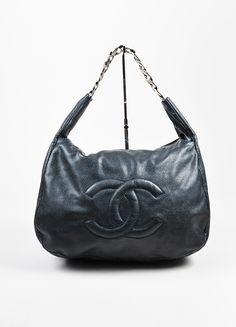 "Black Chanel Leather ""Caviar 31"" Chain Handle Hobo Bag"