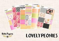 Full Kit - Lovely Peonies - Erin Condren Vertical - Planner Stickers