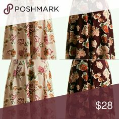 SALE! Gorgeous Floral midi skirt Only selling Pink or Burgandy color with floral print.  These full skirts are cute and fun to wear! Made of beautiful crepe-like fabric.    Price is firm. Fashionomics Skirts A-Line or Full
