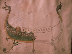 Gustav Gaudernack. Watercolor design for decorative viking ship  bowl in plique-a-jour enamel.