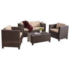 Entertain your guests outdoors while giving them plenty of room and even a place to set their drink or plate. With the included plush cushions, you can ch...