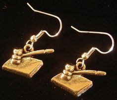 Judge's Gavel Earrings 24 Karat Gold Plate Justice Law Judge EG456 by NostalgicCharm on Etsy