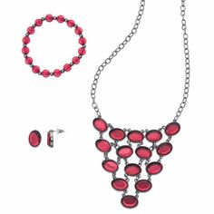 Red Statement Necklace, Beaded Stretch Bracelet & Drop Earring Set, Brt Red