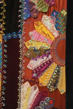 I realised that I haven't added many of these photo's here, so thought I would.  These are of my Crazy Quilt with Grandmother's Fans. It took 4 years between 1992-1996 and I sold it in 2009(ish) for $70000AU.
