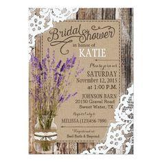 Lavender Wood Lace Rustic Bridal Shower Card