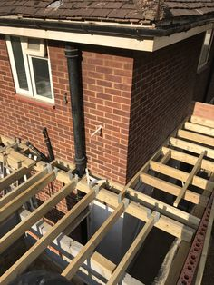 Structure work for GRP flat roof. House Extension Plans, House Extension Design, Extension Designs, Roof Cladding, Framing Construction, Roof Lantern, Fibreglass Roof, House Wall, House Extensions