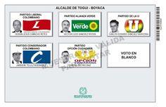 Tarjetón de elección para Alcalde de Togüí
