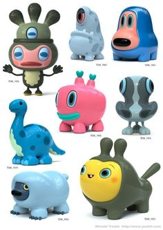 The Daily Work - Hiroshi Yoshii Toy Art, Vinyl Toys, Vinyl Art, Cute Characters, Cartoon Characters, 3d Cartoon, Game Character, Character Design, Japanese Toys