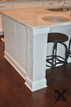 Want to Upgrade Your Kitchen Island? This is a super quick, inexpensive, easy weekend project, that provides a lot of character to an otherwise basic kitchen island by adding picture frame molding. Kitchen Island Molding, Kitchen Island Upgrade, Picture Frame Molding, Picture Frames, Hilton Head Beach, Basic Kitchen, Decorative Mouldings, Kitchen Upgrades, Beach House