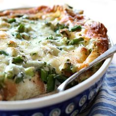 Asparagus Bread Pudding: Stale bread gets new life as the world's easiest, cheesiest soufflé. Serve the bread pudding with fruit for a brunch that will get rave reviews.