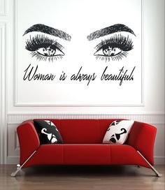 Eyelashes and Eyebrows Wall Decal Lashes and Brows Window Sticker Lashes Extensions Wall Decal Eyes Beauty Salon Wall Art - make up room studio Home Beauty Salon, Beauty Salon Decor, Beauty Salon Interior, Beauty Studio, Beauty Room, Makeup Studio Decor, Nail Salon Decor, Salon Interior Design, Salon Design