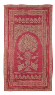 A KIRMAN EMBROIDERED PRAYER PANEL, SOUTHEAST PERSIA approximately 240 by 134cm; 7ft. 10in., 4ft. 4in. mid 19th century