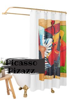 Jazz up your bathroom with a Picasso classic shower curtain. #showercurtain, #bathroomdecor, #Picasso, #Pablopicasso