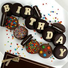 """Wish them a happy birthday in the best way with this delicious box of goodies. Featuring mouthwatering chocolate-dipped Oreo cookies that spell out """"Happy Birthday,"""" this makes a great gift . 90th Birthday Gifts, Birthday Cupcakes, Happy Birthday, Birthday Ideas, Birthday Recipes, Birthday Bash, Birthday Wishes, Birthday Crafts, Birthday Decorations"""