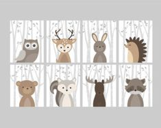 Fox Animal Wall Art Print Nursery Decor Woodland by YassisPlace