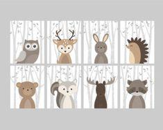 Fox Animal Wall Art Print Nursery Decor Woodland by YassisPlace