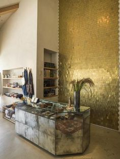 A collaboration between Erica Tanov and Cle Tile reaps a shimmering brass tile collection that is energized by light. Design Studio, House Design, Sequin Wall, Interior And Exterior, Interior Design, Retail Interior, Wall Finishes, Tile Design, Decoration