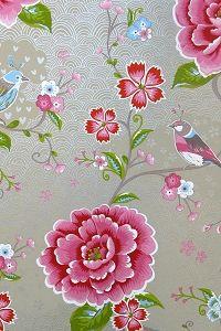 PiP Birds in Paradise Khaki behang. In een schilderij frame