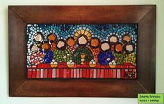 Last Supper II - a special commission x 30 cm)///mosaic! Last Supper Art, The Last Supper Painting, Mosaic Glass, Glass Tiles, Mosaic Madness, Naive Art, Easy Paintings, Art Oil, Diy Painting