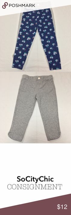 CARTER'S 2 PC LEGGING BUNDLE CARTER'S 2 PC LEGGING BUNDLE. GREY JEGGINGS WITH CENTER FRONT SNAP CLOSURE. FLORAL LEGGING IN NAVY. FABRIC: COTTON. CONDITION: GENTLY USED/ NO SIGNS OF WEAR. SIZE 24M Carter's Bottoms Leggings