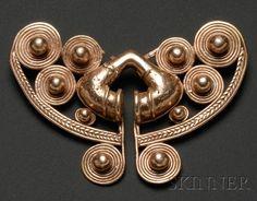 Colombia   Nose ornament   Gold   Pre-Columbian; ca. 1000 - 1500 AD   711$ ~ Sold