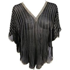 Preowned 1980s Judith Ann For Neiman Marcus Black/silver Beaded Silk... ($295) ❤ liked on Polyvore featuring tops, black, shirts, beaded tops, scallop shirt, scallop top, batwing tops and loose fitting tops