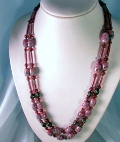 Purple Art Glass Double Strand Necklace at Redrosejewelry.com