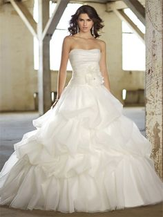 Ball Gown Strapless Organza Satin Sweep Train Flower(s) Wedding Dresses Shop uk