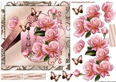 Gift Box Pink Roses on Craftsuprint designed by Marijke Kok - Gorgoeus design with a vintage gift box and edwardian pink roses, very elegant ... - Now available for download!