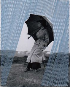 From Robert Mann Gallery, Flore Gardner, Rain (2014), Embroidered found photograph, 4 1/2 × 3 1/2 in