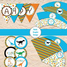 Printable dinosaur birthday party package banner  by NadaGraphic