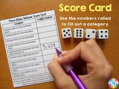 Place Value Yahtzee Fill Out Score Card