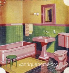 Decor Pink, green, and yellow bathroom. This is the color palette for my vintage camper:) - Decor, Retro Bathrooms, Vintage Interior, Vintage Bathrooms, Green Bathroom, Vintage Home Decor, Vintage House, Vintage Interiors, 1950s Decor