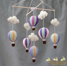 Items similar to Mineral stone hot air balloon baby mobile - baby mobile - pink and purple- gentle colors - up in the air - nursery decoration - on Etsy Best Baby Mobile, Baby Crib Mobile, Hanging Mobile, Mineral Stone, Ballon, Hot Air Balloon, Nursery Decor, Whimsical Nursery, Diy Gifts