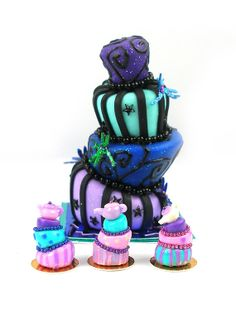 Three Individual Whimsical Cakes - Dolls House Miniature Food Handmade