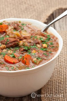 Slow Cooker Beef Vegetable Barley Stew - Chew Out Loud